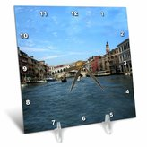 Rialto 3dRose LLC The Bridge Venezia Italy Desk Clock, 6 by 6-Inch