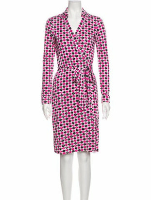 Diane von Furstenberg Printed Knee-Length Dress w/ Tags Pink