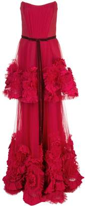 Marchesa ruffled appliqué strapless gown