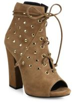 Giuseppe Zanotti Studded Suede Lace-Up Peep-Toe Booties