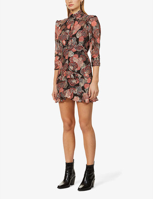 BA&SH Hydra floral-embroidered woven mini dress