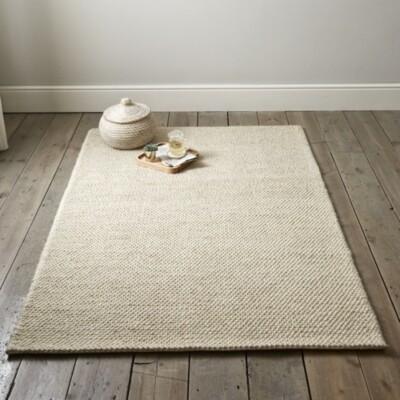The White Company Hampton Looped Wool Rug, Ivory, Large