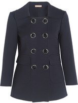 Michael Kors Double-breasted Wool-crepe Blazer - Navy