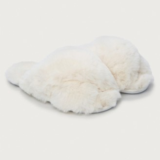 The White Company Fluffy Cross Front Slippers, Ivory, S[3/4]