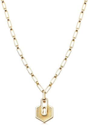 Missoma Limited Gold Textured Padlock Chain Necklace