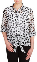Allison Daley Petites Button Down Tie-Front Printed Blouse