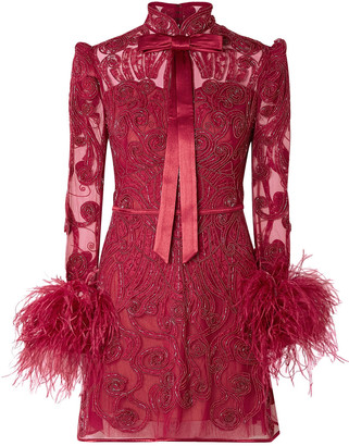 ZUHAIR MURAD Belle Epoque Feather-trimmed Embellished Lace And Tulle Mini Dress