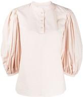 See by Chloe puff-sleeve mandarin collar blouse