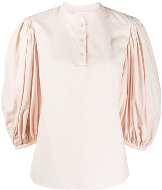 See by Chloe Puff-Sleeve Mandarin Collar Blouse