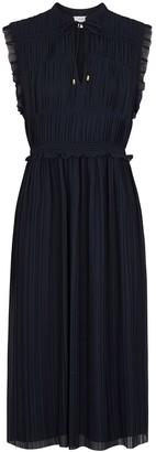 Joie Serilda Navy Plisse Chiffon Midi Dress