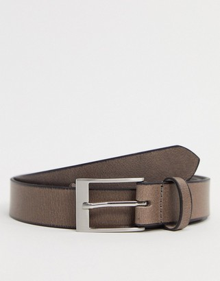 ASOS DESIGN leather slim belt in grey with silver buckle and burnished edges