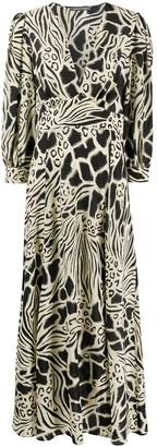Alberta Ferretti Abstract Print Empire Line Dress
