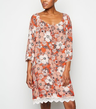 New Look Floral Crochet Trim Mini Dress