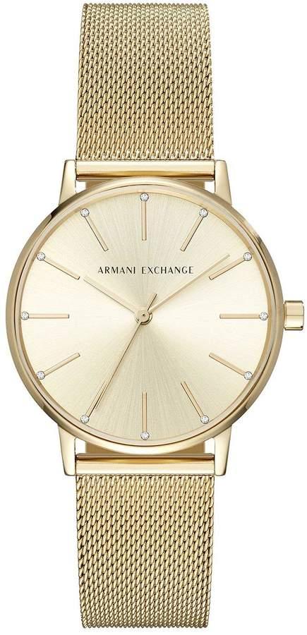 Armani Exchange Lola Gold Tone Mesh Bracelet Ladies Watch