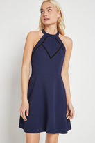 BCBGeneration Crochet Inset Fit-and-Flare Dress - Navy