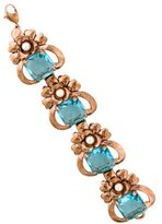 Isaac Mizrahi Crystal & Pearl Floral Link Bracelet
