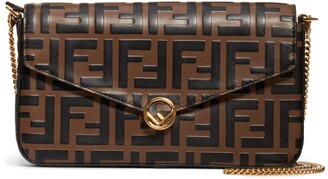 Fendi Double-F Logo Leather Wallet on a Chain