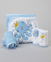 SpaSilk Blue Octopus Terry Hooded Towel Set