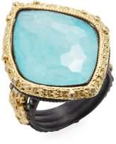 Armenta Women's Old World 18K Gold, Turquoise, Moonstone & 0.28 Total Ct. Diamond Carved Kite Fleur de Lis Ring