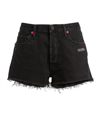 Off-White Floral Distressed Denim Shorts
