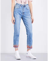 Ksubi Chloe Wasted flame-embroidered straight high-rise jeans