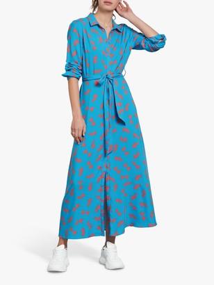 Hush Sophie Bird Print Maxi Shirt Dress, Blue/Multi