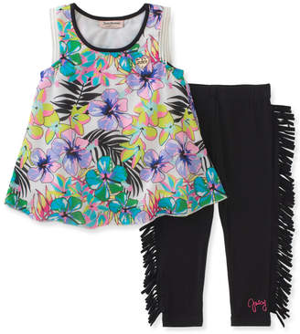 Juicy Couture Floral Top & Fringed Legging Set