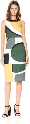 Laundry by Shelli Segal Women's Midi Geo Print with Cut Out Back