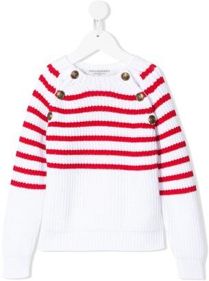 Philosophy di Lorenzo Serafini Kids nautical-stripe buttoned jumper