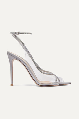 Gianvito Rossi Plexi 105 Crystal-embellished Lame And Pvc Sandals - Silver