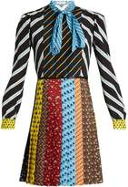 Mary Katrantzou Knight tie-neck graphic-print dress