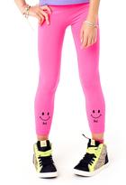 LittleMissMatched Neon Pink Smiley Leggings - Girls