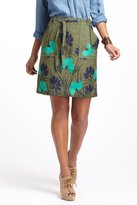 Anthropologie Embroidered Succory Twill A-Line Skirt