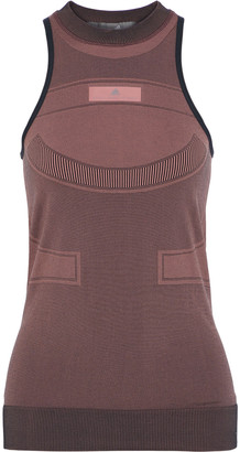 adidas by Stella McCartney Run Ultra Open Knit-paneled Stretch-jacquard Tank