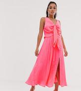 Asos DESIGN Petite knot front pleated maxi dress
