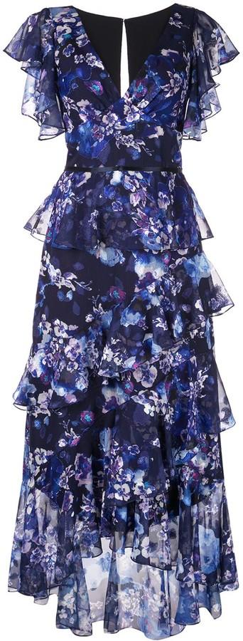 Marchesa Notte Ruffled Floral Print Dress