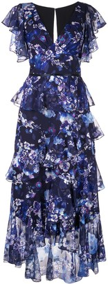 Marchesa Notte Ruffled Floral Print Dress