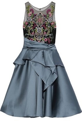Marchesa Flared Embellished Tulle And Duchesse-satin Dress