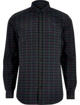 River Island MensGreen casual check slim fit shirt