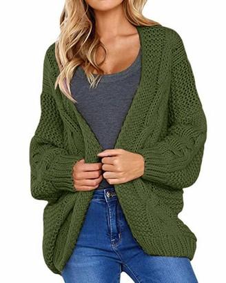 CNFIO Sweater Cardigans for Women Long Sleeve Open Front Chunky Cardigan Outwear B-Cyan XL