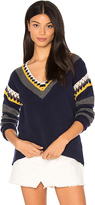 Shae Crochet V Neck Sweater in Navy