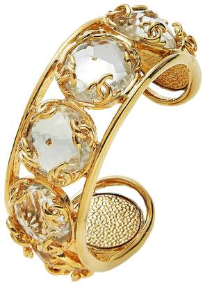 Chanel Gold Metal & Jewel 'CC' Cuff