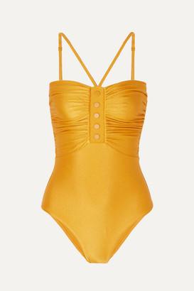 Zimmermann Allia Ruched Metallic Swimsuit - Gold