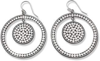 Samuel B. Sterling Silver Dot Design Open Circle Drop Earrings