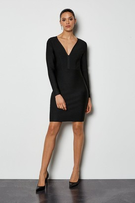 Karen Millen Long Sleeve Deep V Short Bandage Dress