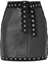 Maje Eyelet-embellished Suede-trimmed Leather Mini Skirt