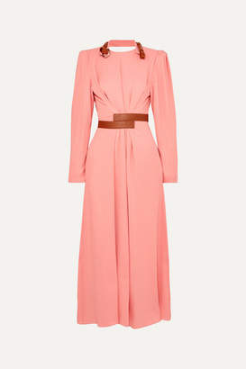 Stella McCartney + Net Sustain Faux Leather-trimmed Crepe Dress - Pink