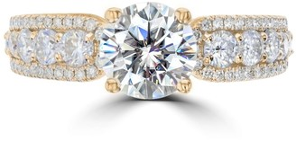 La Vita Vital 2.55ct Vintage Moissanite Engagement Ring 14 Karat Yellow Gold
