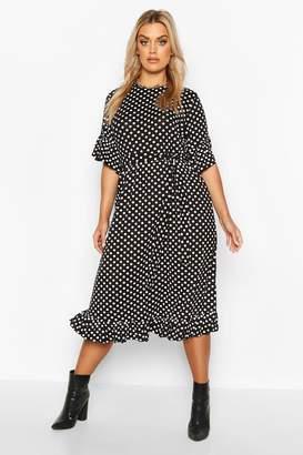 boohoo Plus Polka Dot Ruffle Midi Smock Dress