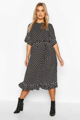 boohoo Plus Polka Dot Ruffle Midi Smock Dress